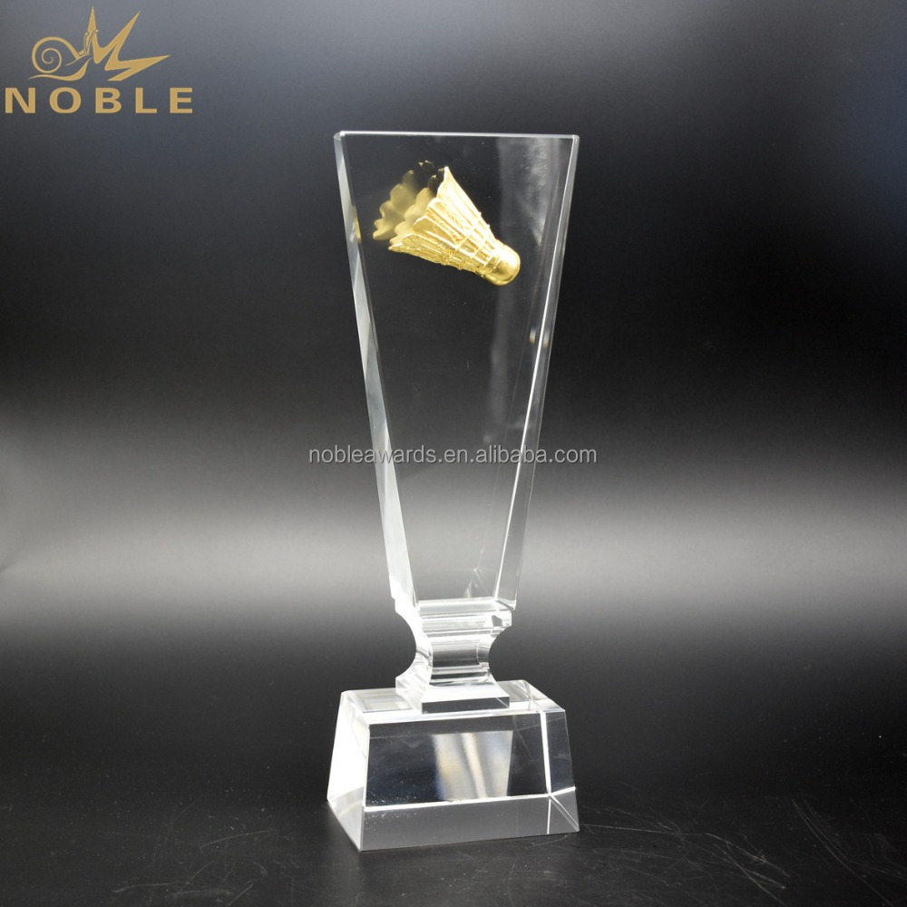 Noble Wholesale Crystal Badminton Trophy Award For Sports Gifts