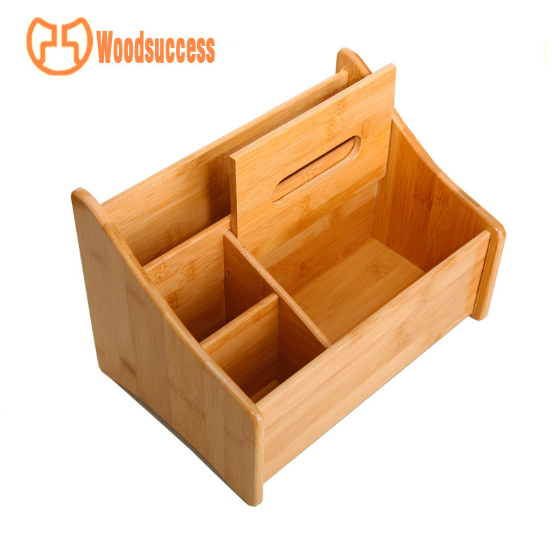 tissue box multifuctional bamboo desk organizer set
