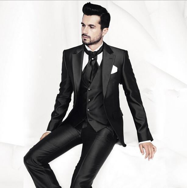 58e7b772dc Get Quotations · 2015 New Handsome Black Groom Tuxedos Best Man Suit Notch  Lapel Groomsman Men Wedding Suits Bridegroom