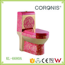 Super Luxury gold colored golden Ceramic toilet commode with red or black pattern