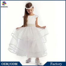 Children White Gorgeous Satin and Tulle with Pearl Sash Layered Girl Communion Dresses Alibaba Wedding Dress