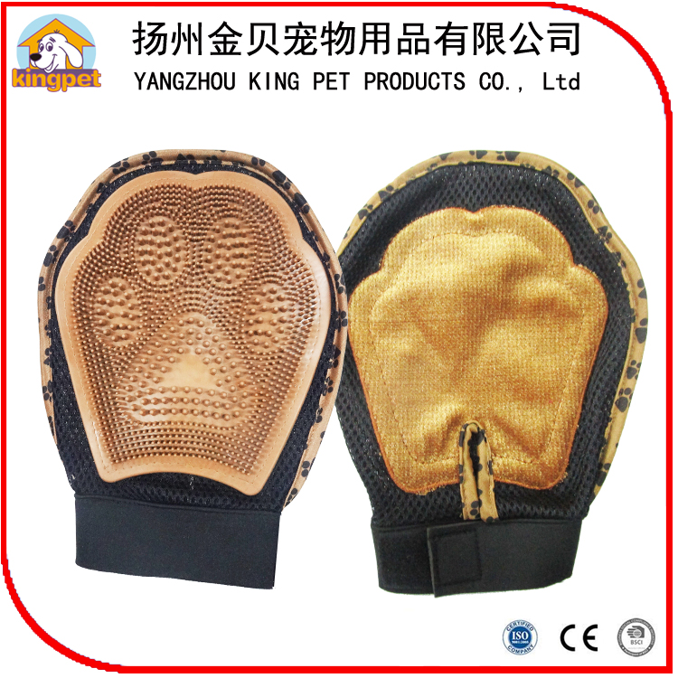 Easy clean convenient pet hair removing brush grooming glove for wholesale