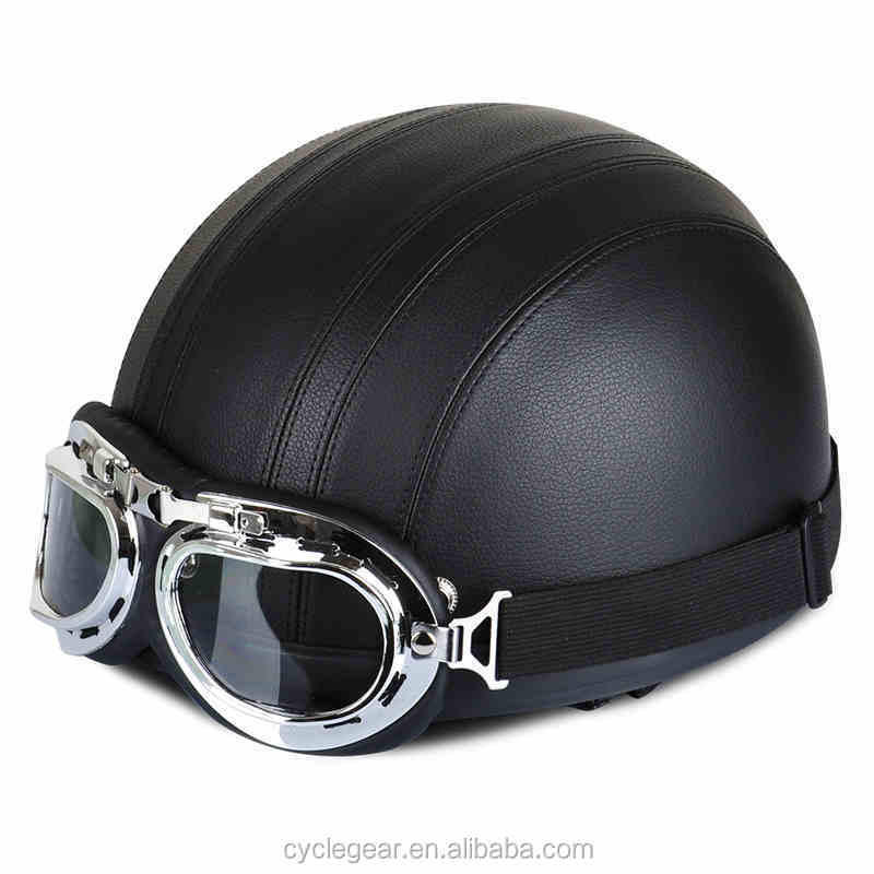 Best Selling Leather Vintage Motorcycle Helmet For hallar motorcycle Cyclist With Goggle CG201