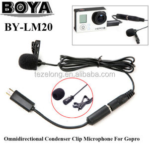 BOYA BY-LM20 Omni stereo Directional Condenser Microphone Clip External Microphone + Mini USB Adapter