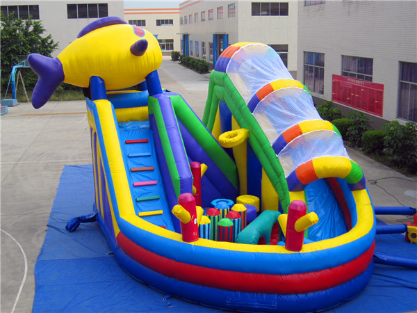 Newest inflatable obstacle course for kids, inflatable obstacle with slide