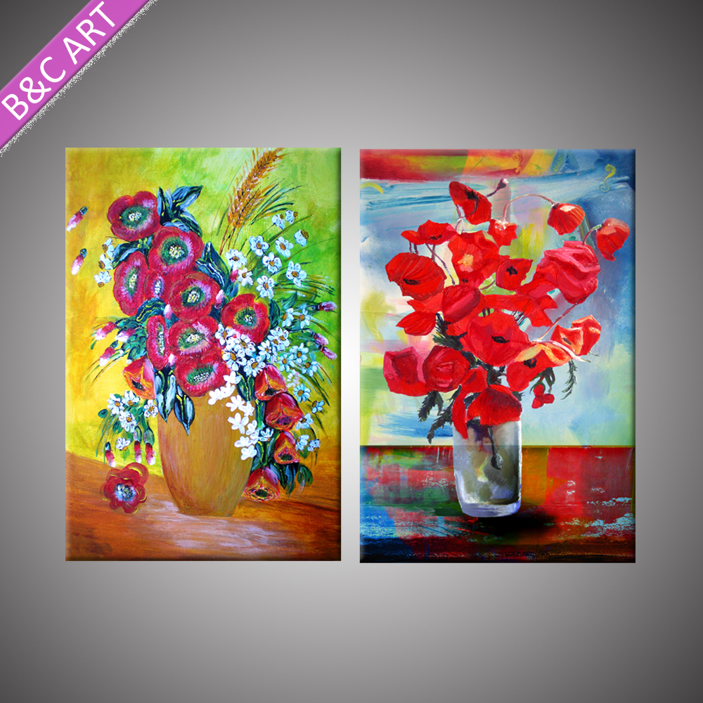 Flash red flower artwork fabric latest glass painting designs