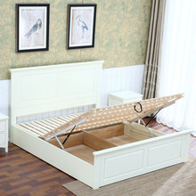 white color modern wooden latest children double bed designs with box for 2 kids