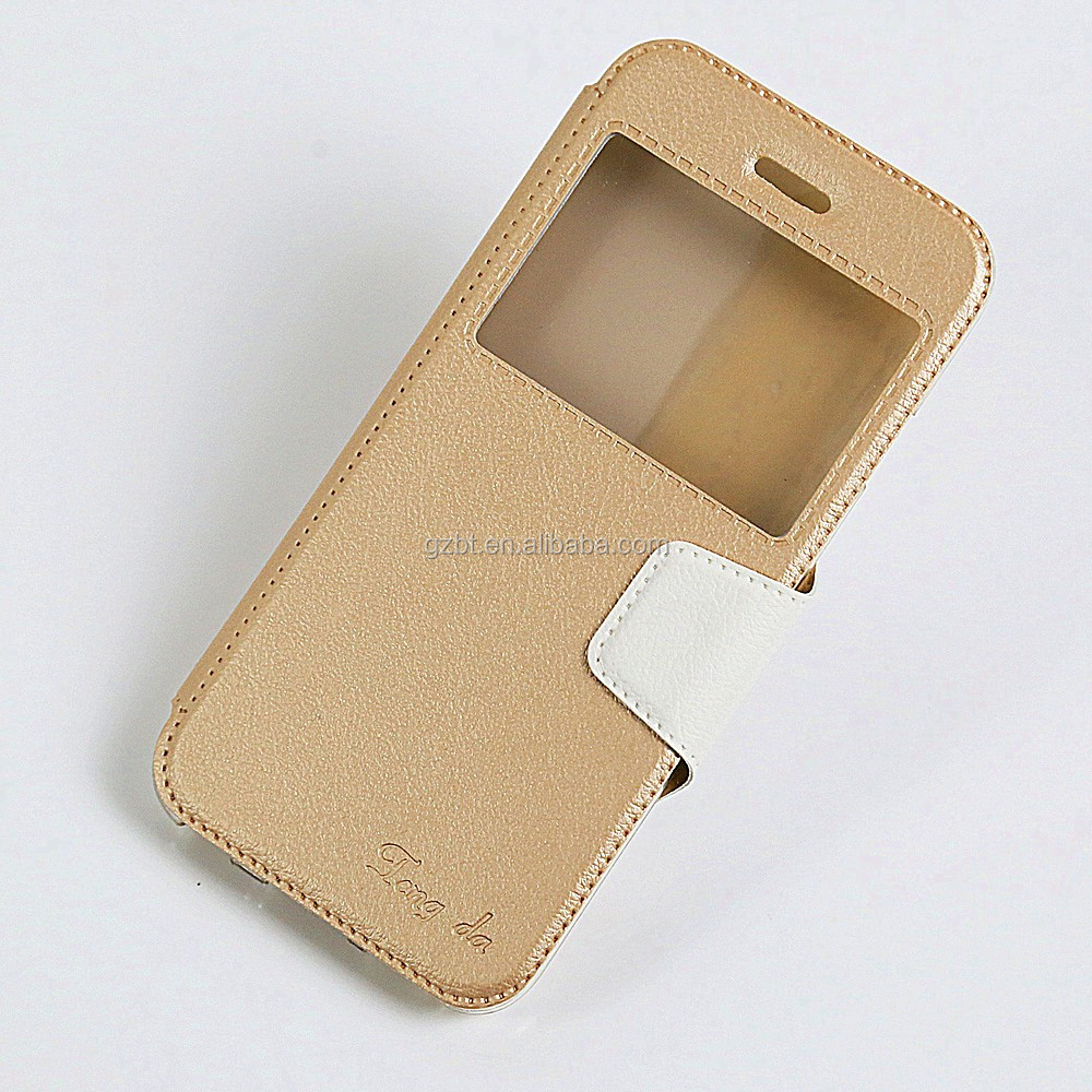Smart Phone Leather Case Window Magnetic Kickstand Folio TPU Phone Cover For i phone Case 5c Mobile Leather Case