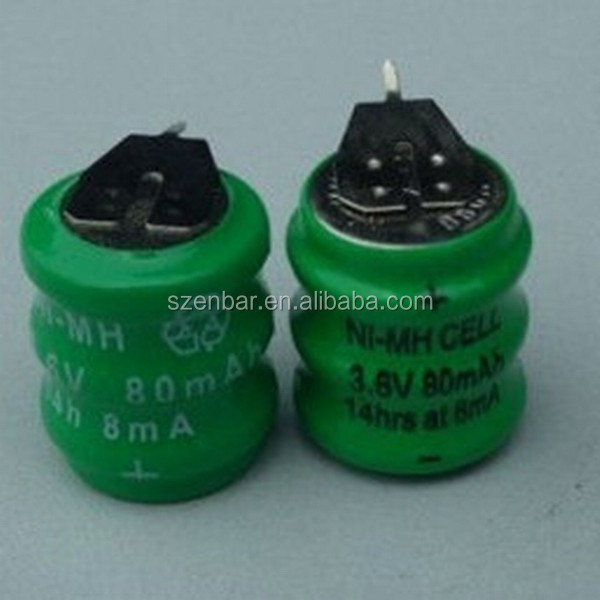 3.6V 80mAh button cell rechargeable ni-mh battery 3.6v 80mAh