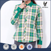 Indian style tunic tops denim plaid women shirts wholesale for ladies' garment