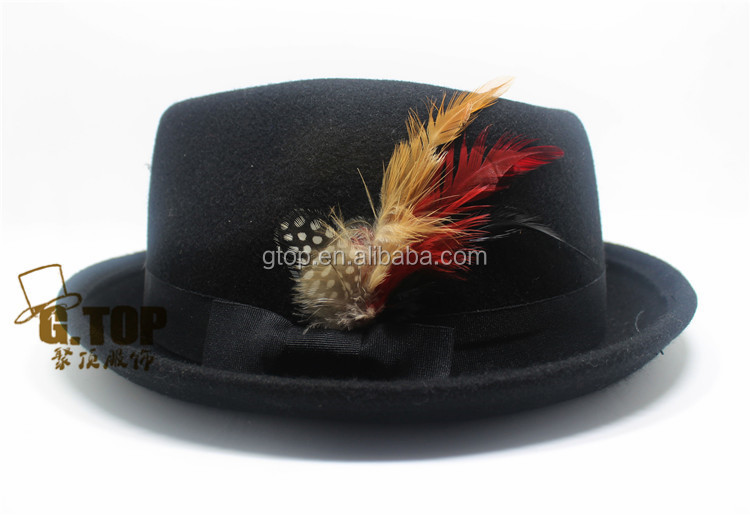 Fashion Men Women Feather Wool Felt <strong>black</strong> Fedora Hat cap
