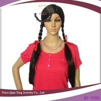 Cheap black long french braided ponytail style wigs