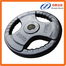 tri grip rubber coated barbell competition weight lifting plate