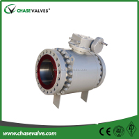 Cast Steel Worm Gear operated flange ends trunnion mounted hard seal alloy ball valve