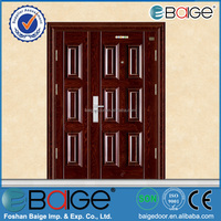 BG-S9236B Double leaf galvanized steel door price with steel door frame