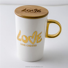 the most largest selling Gold inlaid ceramics coffee mugs with wooden lid