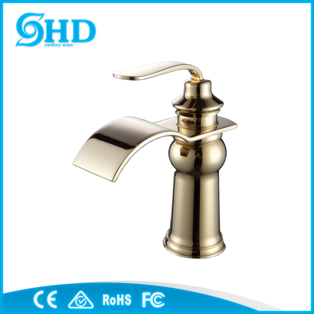 Factory Wholesale New High Quality Sanitary Ware Water Mixer Water Tap Waterfall Faucet Golden Faucet