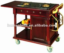 wooden liquor trolley /liquor cart / abalone cart kitchen equipment