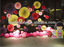 Tissue paper hanging fan for wedding hall decoration