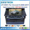 "ZESTECH dvd gps radio FM AM 8"" car dvd navigation for Honda Accord 8 car dvd navigation system"