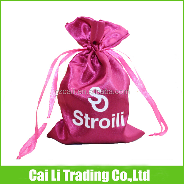 silk material jewelry gift packing custom bags drawstring