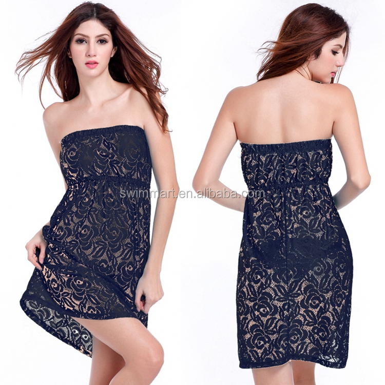2015 Loose Pattern Tube Top Strapless Black Lace dress