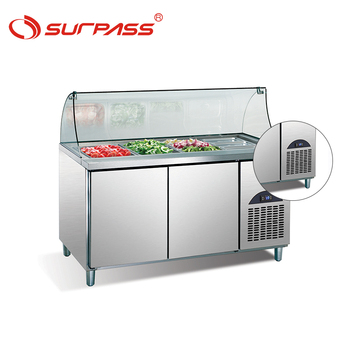 Buffet salad bar display refrigerated