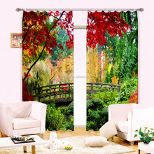 Vivid forest photo printing blackout curtain for bedroom