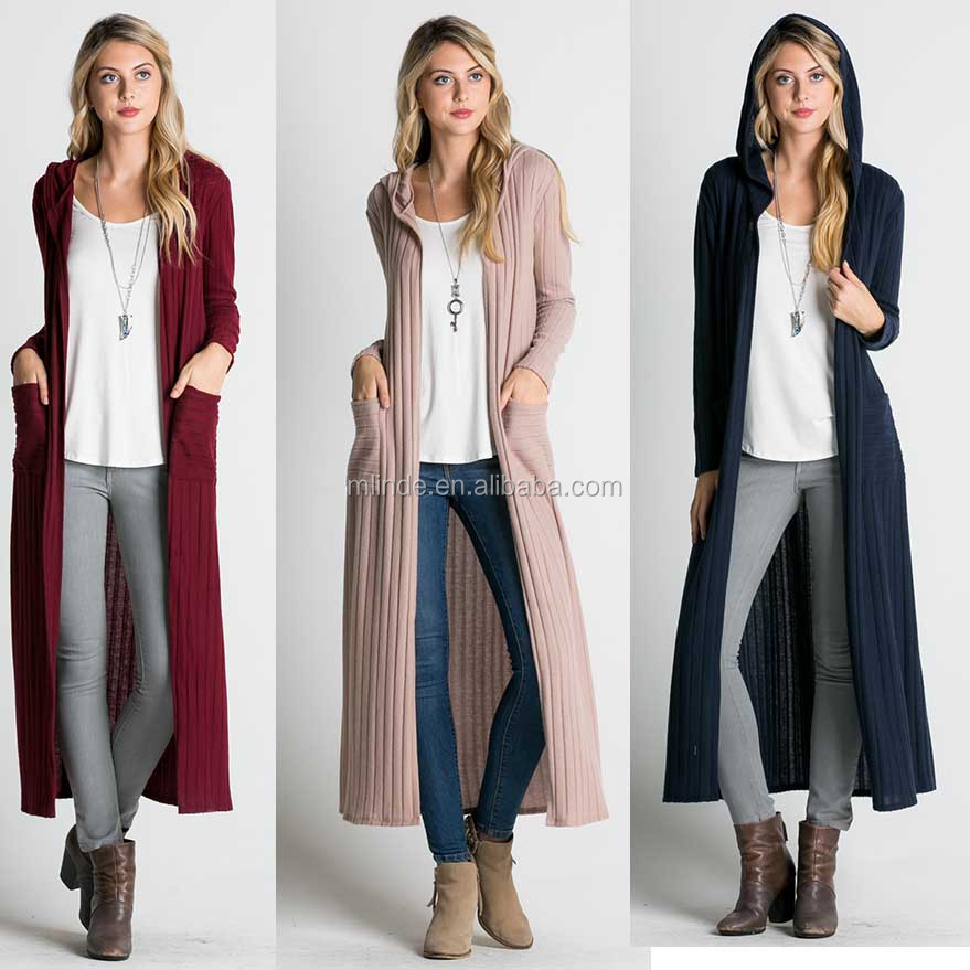 Women Long Sleeves Solid knitwear Cardigan Manufacturers Ribbed Knit Hooded Long Line Cardigan Sweater With Hood