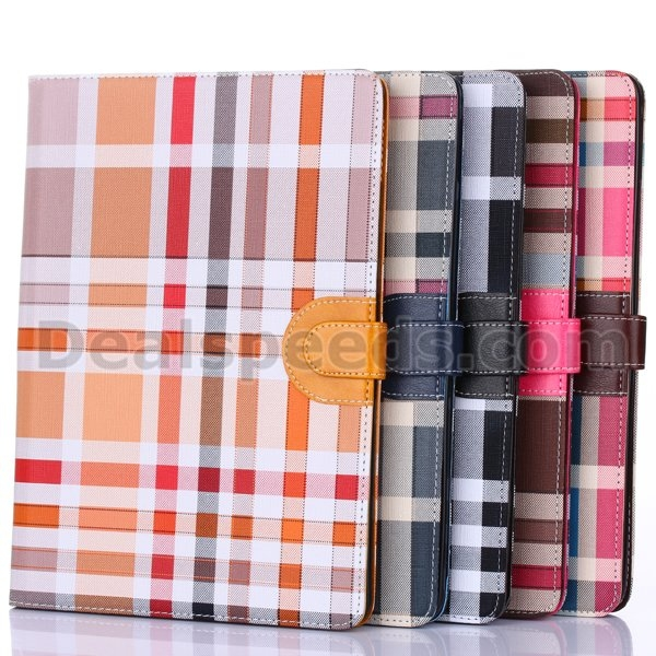 Checker Plaid Stand Leather Folio Case Cover For iPad Air 2/iPad 6