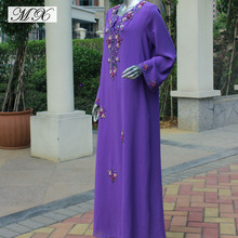 Purple Muslim Long Dress for Baju Muslim Party Dress Gown