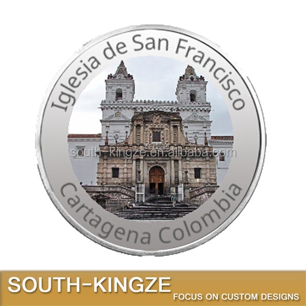 Excellent attraction Iglesia de San Francisco custom engraved silver coin