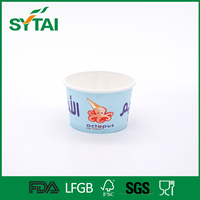 Varioues sizes customized logo printed PE coated paper ice cream containers