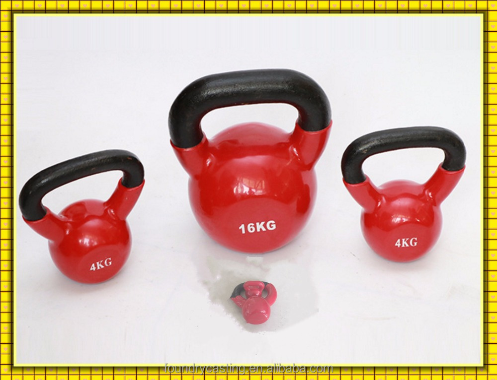 OEM HT200 GG20 cast iron steel dipping plastic covered vinyl kettlebells