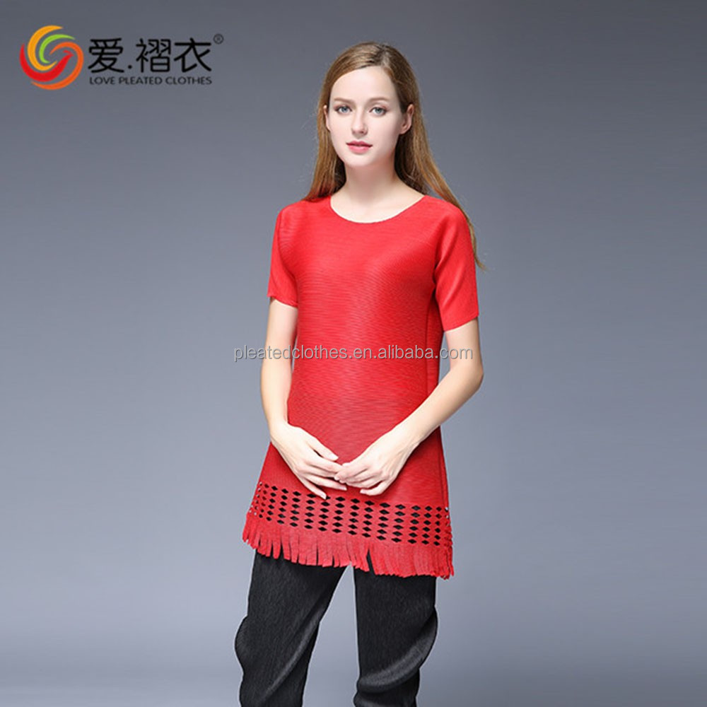 Cheap new design loose clothes plus size pleated o- neck T-shirt