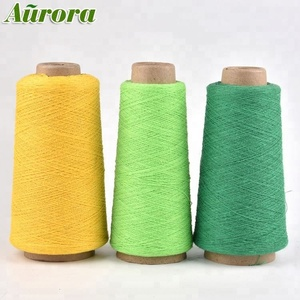 Satisfying service NE 14/1 cone dyed polyester yarn light green recycled weaving yarn