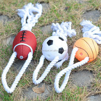 2015 popular plastic rugby ball with rope squeaky dog rope toy