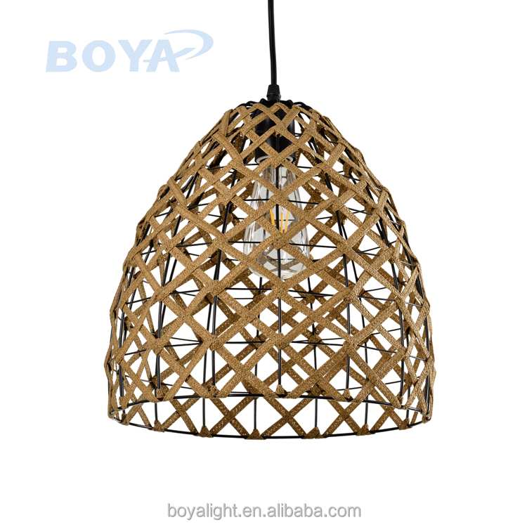 Braided rope brown textured Hollow out restaurant pendant light hanging lamp