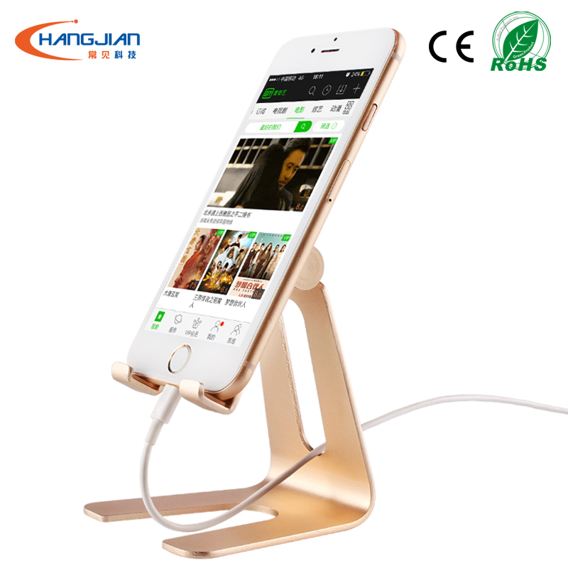 Factory in China 180 degree rotation tablet mobile phone metal holder with non-slip silica gel for smartphone