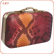 Quality snake embossed leather clutch bag hard case