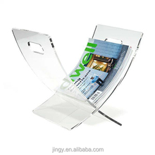 Clear X shape pmma plexiglass acrylic open book display stand