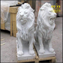 Outdoor Large Garden Hand Carved White Marble Lion Statues For Sale