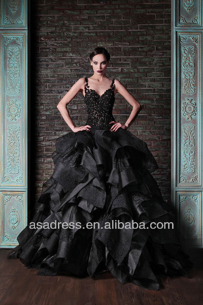 Fashionable Organza Sweetheart Lace Spaghetti Straps Black Sexy Ball Gown Prom Dresses (EVRK-1003)