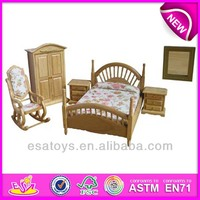 2015 New kids wooden toy bed,popular children wooden toy bed and hot sale Classic toy bed room,miniatures decoration WJ278064