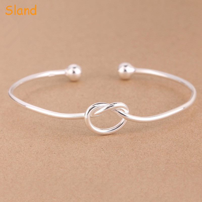 Good quality custom design adjustable open cuff bangle knot 925 silver bracelet for women