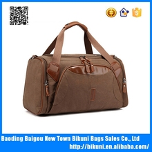 New designer classic business style canvas travel bag duffel hand bag with PU part