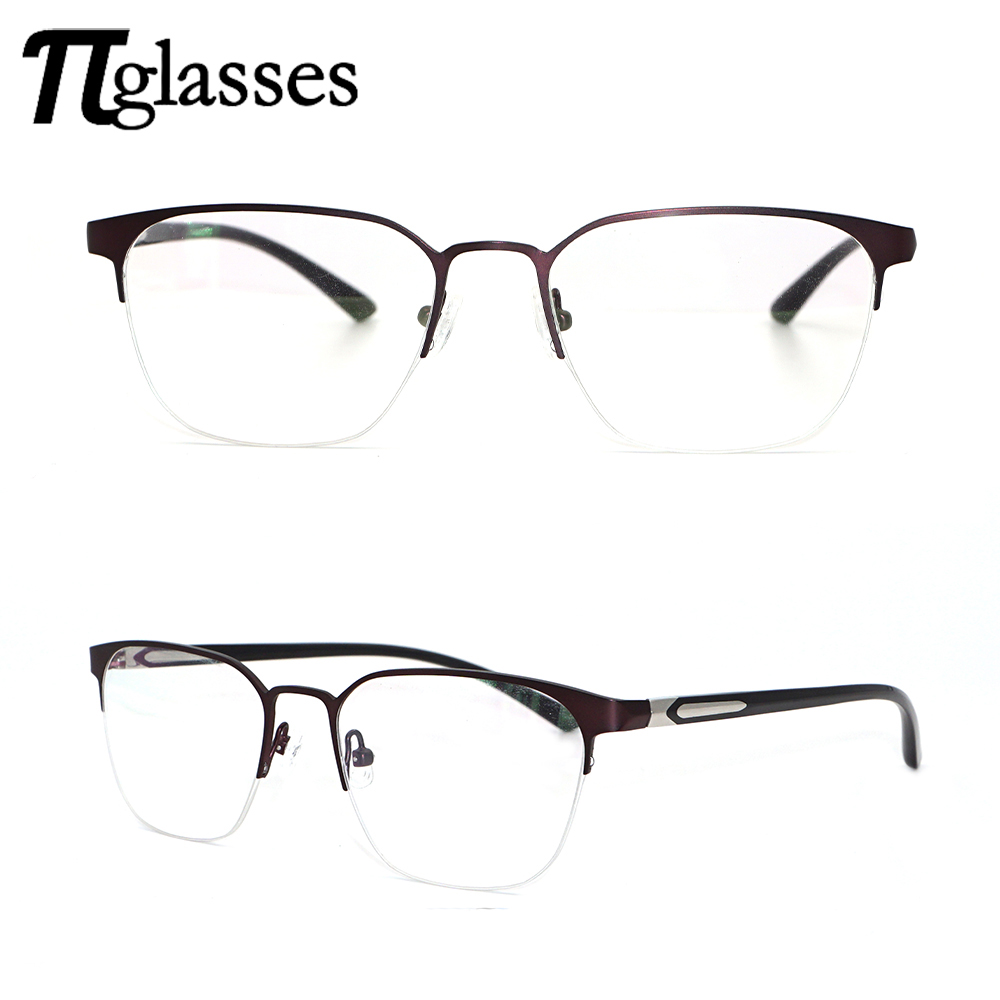 2017 Latest Fashion Half Rim Red Metal Eyewear Glasses Frame