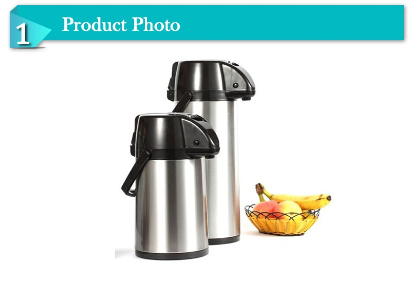 New item lever pump stainless steel coffee thermos vacuum flask  with glass liner