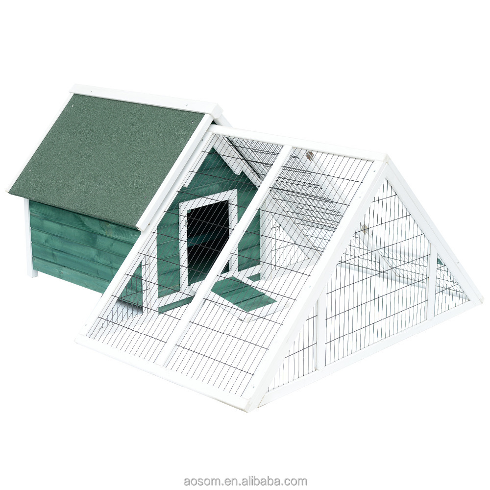Pawhut Chicken Rabbit Cage Coop Deluxe Large Nesting Box Run Outdoor