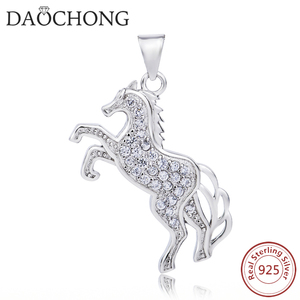 cubic zircon micro pave 925 sterling silver horse pendant